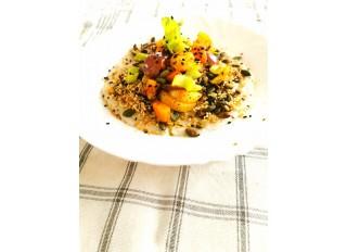 Ranná kaša so zeleninou shiro miso a semienkami